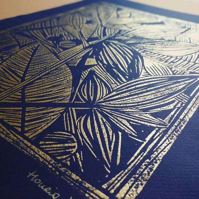 """""""Houria"""" Gravure format A3, (or sur bleu ou or sur gris), limitée à 30 exemplaires"""